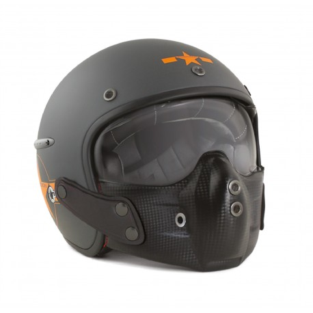 Casque Harisson Corsair Star Deco gris orange mat