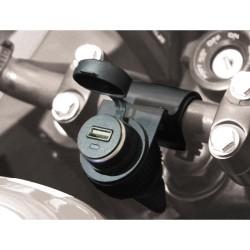 Prise 12V pour Guidon Moto + Prise USB