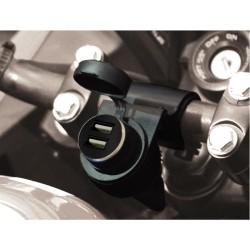 12V-Steckdose für Motorradlenker + USB-Doppelanschluss