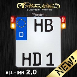 Heinz Bikes ALL-INN 2.0 Kennzeichenhalter mit Kennzeichenbeleuchtung, Blinker, Brems- & Rücklicht