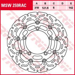 Disque de frein Avant TRW MSW259RAC