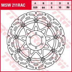 Bremsscheibe schwimmend TRW / Lucas MSW211RAC