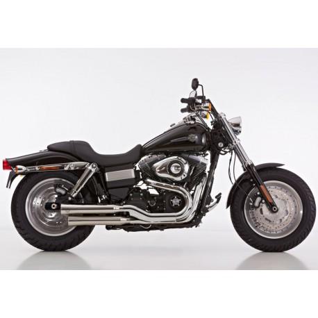 Auspuff Falcon Double Groove - Harley-Davidson Dyna Fat Bob FXDF 08-16 // Wide Glide FXDWG 10-16
