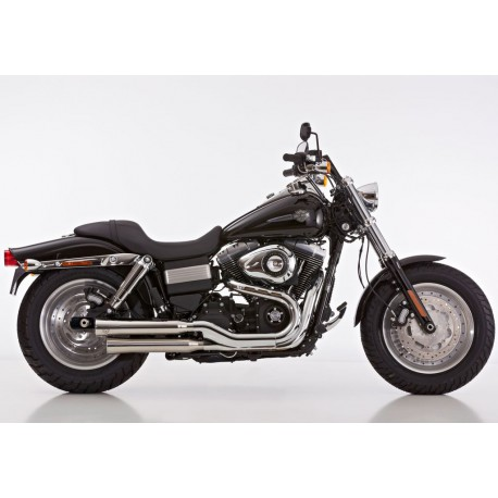 Echappement Falcon Double Groove gris - Harley-Davidson Dyna Fat Bob FXDF 08-16 // Wide Glide FXDWG 10-16