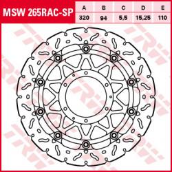 Bremsscheibe schwimmend TRW MSW265RAC