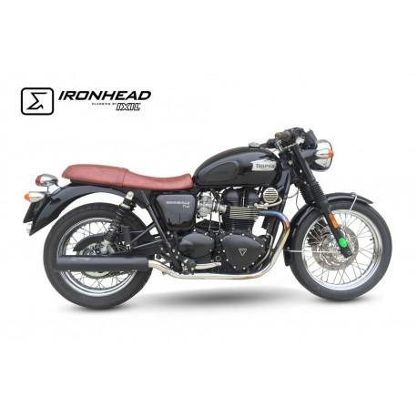 Exhaust Ironhead Black Triumph Bonneville T100 07 15 Moto Parts