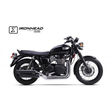 Komplettanlage Ironhead schwarz - Triumph Bonneville / T100 07 -15 // Thruxton 865 04-15
